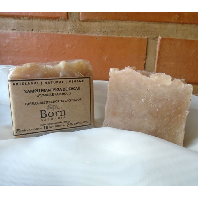 Xampu em Barra Natural e Vegano - Cacau - Cabelos Secos- Born Saboaria