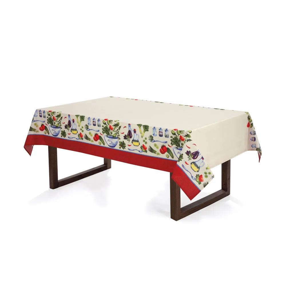 Toalha de Mesa - Redonda 4 Lugares - 160 - Limpa Fácil - Karsten - Salada