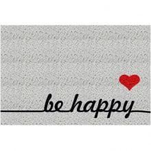 Capacho Retangular - Fibra de PVC - Be Happy - 40X60 cm