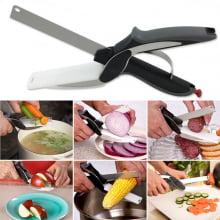 Faca / Tesoura para cozinha - com placa de corte - 2 em 1 - Clever Cutter