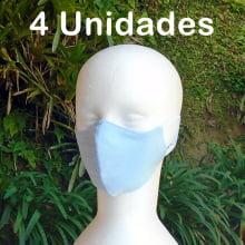 Máscara Protetora de Tecido Lavável - Cores Lisas - 4 Unidades